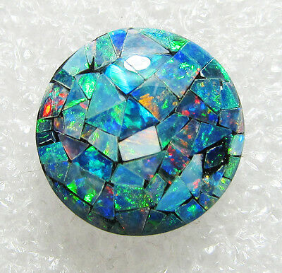 bright clorful mosaic opal doublet, 12 mm round, 5.5 carats