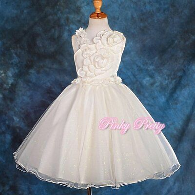 Ivory Pearls Flower Girl Dresses Wedding Bridesmaid Party Size 8y-9y FG172