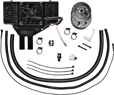 Jagg Oil Coolers Horizontal Low-Mount 10 Row Fan-Assisted Oil Cooler Kit Black