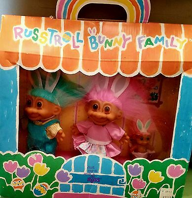 Russ- Troll Bunny Family set of 3 in a window display Box- DAD MOM AND the BABY