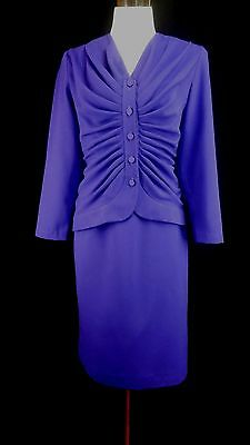 LILLI ANN Petite Vintage 70s 80s Smal Purple 2pc Skirt/Jacket Suit Fully Lined
