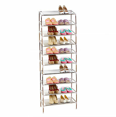 10 Tier 30 Pairs Shoe Storage Rack Stand Organiser Cabinet Shelf Easy Assemble