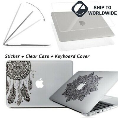 "New Glossy Clear Hard Case Shell+Laptop Decal Sticker Macbook Pro 13/15"" Air 13"""