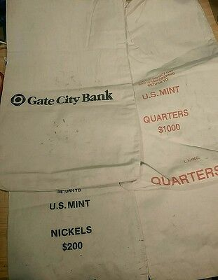 Lot Of 4 Canvas Coin Bank Bags