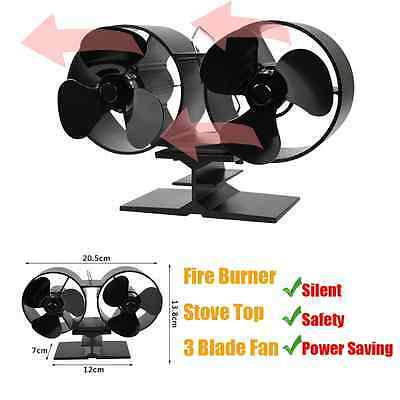 3 Blade Heat Powered Wood Burning Log Fire Burner Stove Top High Power Fan