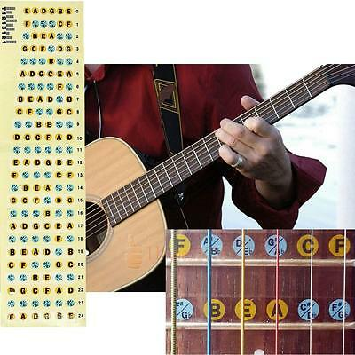 2Pcs 6 String Electric Guitar Bass Fretboard Labels Fret Sticker Learning Aids