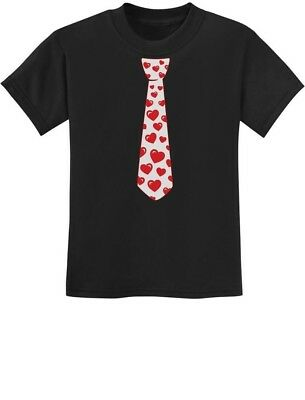 Red Hearts Tie for Valentine's Day Love Youth Kids T-Shirt Gift