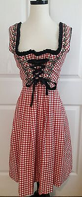 Trachtenmoden Dirndl Dress Bavarian Octoberfest Red White Checks Floral Size 32