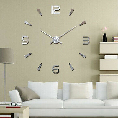 3D DIY Wall Clock Home Modern Decoration Crystal Mirror Sticker Living Room hcuk