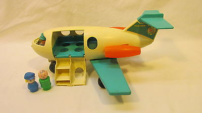 EARLY 60's FISHER PRICE AIRPLANE w/ ANIMATED PILOT & 2 PASSENGERS PULL TOY