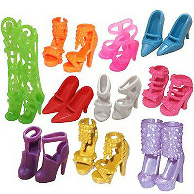 10 Pairs Fashion Party Dress Outfits Clothes Mini Shoes For Barbie Doll Lovely