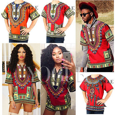 Unisex Dashiki Mens Women African T-Shirt Top Traditional Tribal Ethnic Dress