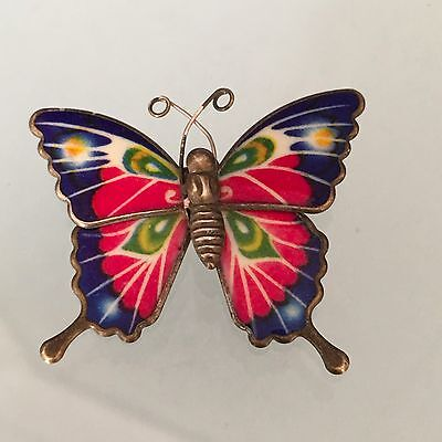 Vintage Estate Very Old Excellent Colorful Enamel Butterfly Brooch 1950's