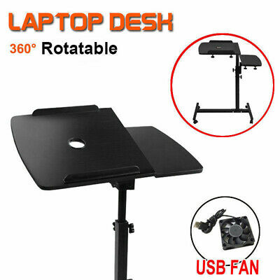 Adjustable Laptop Desk Stand Computer PC iPad Bedside Table USB Cooler Fan AU