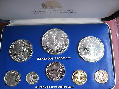 Barbados 8 Coin Proof Set 1976 Franklin Mint: 1 Cent - 10 Dollars 2 silver coins