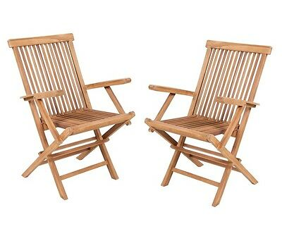 2 x Teak Foldable 'Lakeland' Garden Patio Wooden Armchairs Chairs Furniture