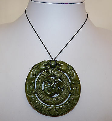 Large Carved Jade Green Hardstone Dragons & Phoenix Pendant. Feng Shui/ Luck