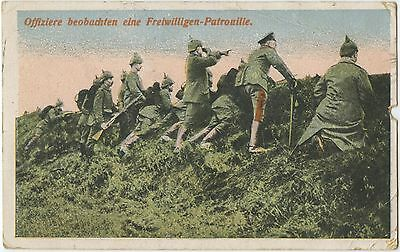 German WW1 Postcard, Officer, Soldiers, Pickelhaube, Patrol 1915