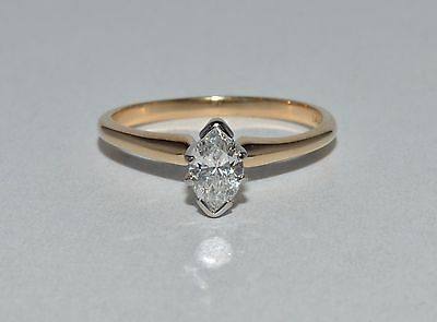 Fine Estate Marquise Diamond Solitaire 14k Yellow Gold Engagement Ring Sz 6.25