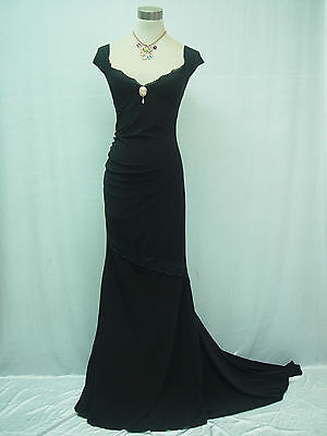 Cherlone Black Ballgown Evening Formal Bridesmaid Full Length Dress Size 12-14