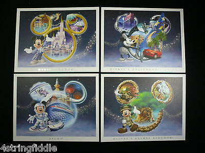 Mickey Mouse Presents: Set Of 4 Disney Theme Parks Collector Lithographs