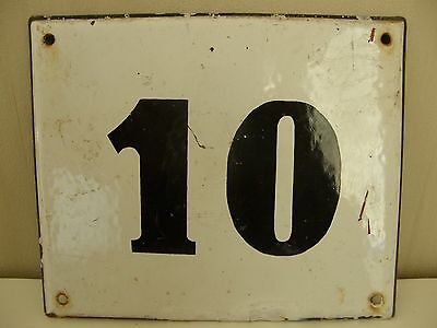 Large Antique French House Number 10 , White Enamel On Steel.