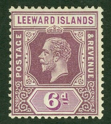 SG 86 Leeward Islands 6d dull & bright purple. Very lightly mounted mint CAT £32