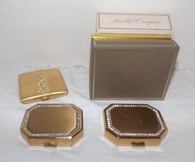 (Group of 3) AVON Jeweled Face Powder COMPACTS - Gold with Rhinestones