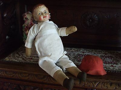 Vintage Antique BOY Doll Fab Compo Head Straw Body Muslin Natural National Doll