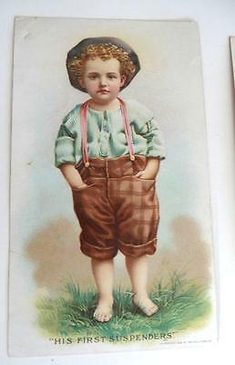 1896 Hires Root Beer Trade Card, HIS FIRST SUSPENDERS, C.H. Co. Pa. U.S.A.
