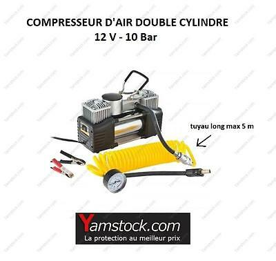 Compresseur d'air double cylindre 12v / 10 bars + manometre voiture ,camping car
