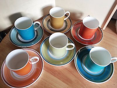 "Vintage Coffee Cup And Saucer Set - ""stripes"" Susie Cooper Designs For Wedgwood"