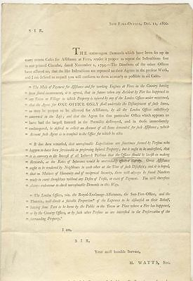 Printed circular from Sun Fire Office, 1800