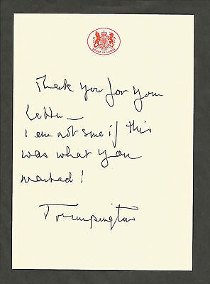 Hand Signed 8x12 photo & Letter BARONESS TRUMPINGTON - World War II