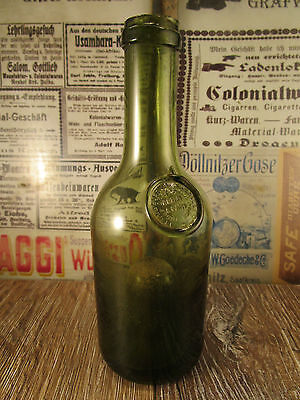 ++Antique++ FRENCH apothecary bottle / SEAL / black glass / high bottom c1860