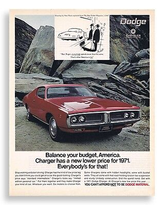 1971 Red Chrysler Dodge Charger Muscle Car Vintage Original Photo Print Ad