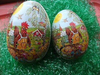 Vintage German Paper Mache Eggs Chckens Hens Church Willow Tree Candy Container
