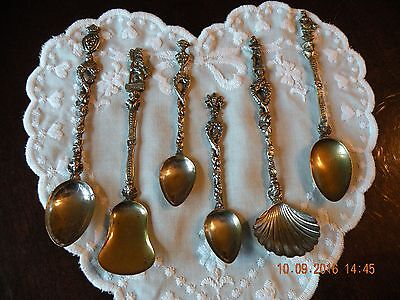 Antique Victorian Ornamental Silver Spoons - Italy