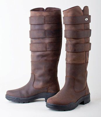 Rhinegold Colorado Long Leather Country Walking Stable Boot UK3 - UK8 Blk or Brn