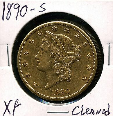 1890-S G$20 Liberty Head Gold Double Eagle with XF Details - Cleaned