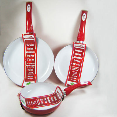 """3 Non Stick Ceramic Coated Fry Pan Set Eco Red Healthy Cookware 8"""" 9.5"""" 11"""" New"""