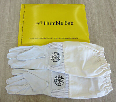 Humble Bee Beekeeping Gloves w/Ventilated Cuffs 112-L Large Leather & Cotton