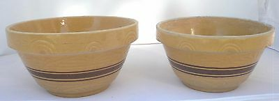"""Vintage Pair RRP Yellow Ware #305 Nesting Stoneware Pottery Mixing Bowls 10"""", 9"""""""