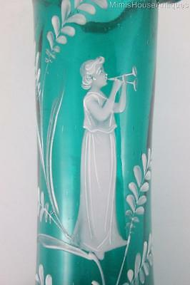 Antique MARY GREGORY Tall GREEN Art Glass VASE  Lady in White Gown  Ruffled Rim