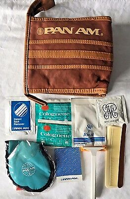 Vintage Pan Am Genuine Leather Toiletry Bag Made by Michaud with Accessories