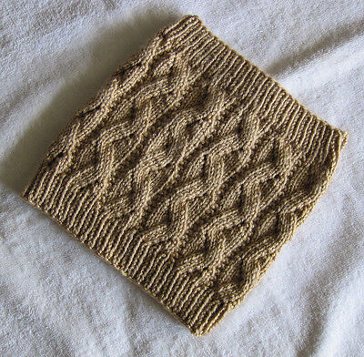 Hand Knitted Cowl Neck Warmer - Tan Gold Brown - Unisex - Soft