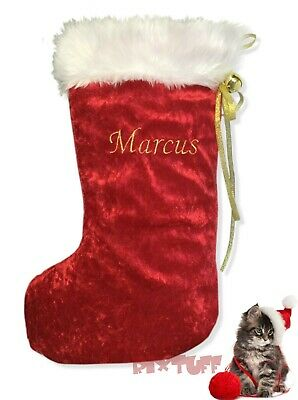 Personalised Embroidered Luxury Christmas Stocking Gift Handmade Red Gold
