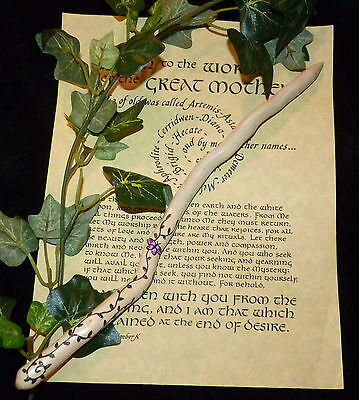 Beautiful Hand Crafted Ivy Wand with Leaves & Butterflies. Pagan/wiccan