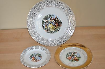 Sebring Pottery Co. Chantilly 22k Gold Dinner Plate Bread Plate IT-S284