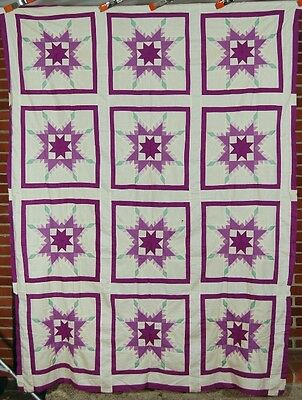 OUTSTANDING Vintage 30's Lavender & Green Feathered Stars Antique Quilt Top!
